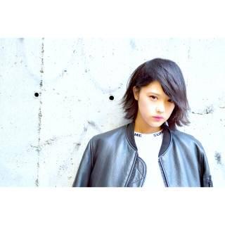 黒髪 ストリート ストレート モード ヘアスタイルや髪型の写真・画像