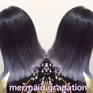 ブルーラベンダー ラベンダーアッシュ グラデーションカラー ラベンダー ヘアスタイルや髪型の写真・画像