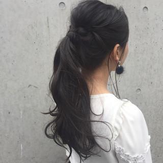 簡単ヘアアレンジ ヘアアレンジ ポニーテール アッシュ ヘアスタイルや髪型の写真・画像
