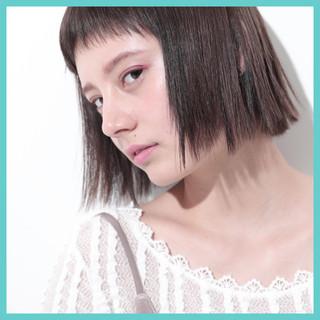 前髪あり ワンレングス ガーリー 暗髪 ヘアスタイルや髪型の写真・画像