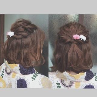 ボブ ショート デート 簡単ヘアアレンジ ヘアスタイルや髪型の写真・画像