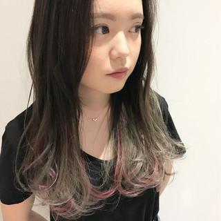 ピンク インナーカラー 外国人風 ロング ヘアスタイルや髪型の写真・画像