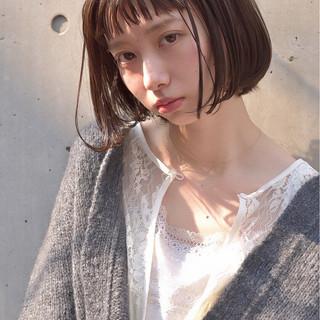 ワンカール ボブ インナーカラー フェミニン ヘアスタイルや髪型の写真・画像