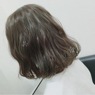 透明感 ボブ アッシュ ガーリー ヘアスタイルや髪型の写真・画像