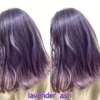 ピンクラベンダー ラベンダーアッシュ ラベンダーカラー ミディアム ヘアスタイルや髪型の写真・画像