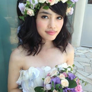 ミディアム ゆるふわ ヘアアレンジ モテ髪 ヘアスタイルや髪型の写真・画像