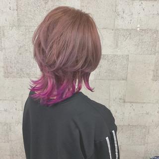 ボブ ダブルカラー ピンク パープル ヘアスタイルや髪型の写真・画像