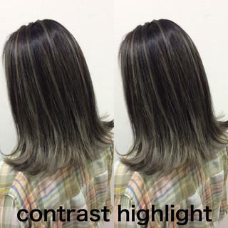 グラデーションカラー バレイヤージュ コントラストハイライト ハイライト ヘアスタイルや髪型の写真・画像