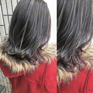 ハイライト ピンク 外国人風カラー ミディアム ヘアスタイルや髪型の写真・画像