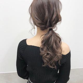 結婚式 ヘアアレンジ ロング ポニーテール ヘアスタイルや髪型の写真・画像