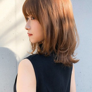 レイヤーボブ デジタルパーマ ミディアムレイヤー ミディアム ヘアスタイルや髪型の写真・画像