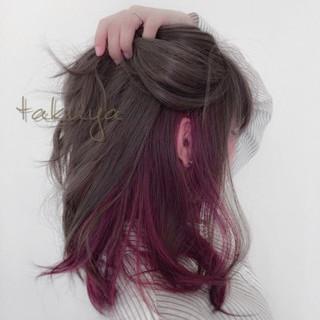 ダブルカラー ピンク ツートン グラデーションカラー ヘアスタイルや髪型の写真・画像