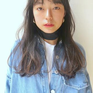 シースルーバング アンニュイほつれヘア セミロング ヘアアレンジ ヘアスタイルや髪型の写真・画像