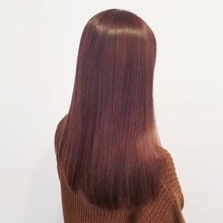 フェミニン ロング ピンク デート ヘアスタイルや髪型の写真・画像