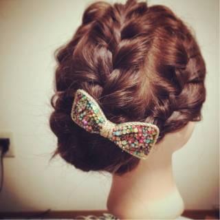 大人かわいい 愛され 編み込み パーティ ヘアスタイルや髪型の写真・画像