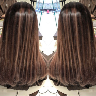 ストリート 外国人風カラー バレイヤージュ セミロング ヘアスタイルや髪型の写真・画像