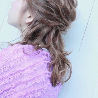 デート ハーフアップ 女子会 ガーリー ヘアスタイルや髪型の写真・画像