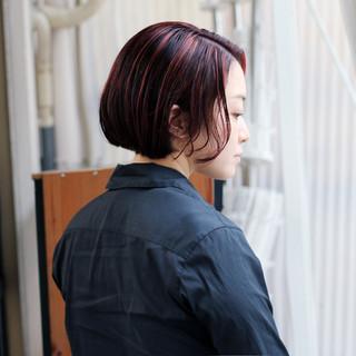 ボブ ストリート ショートヘア 切りっぱなしボブ ヘアスタイルや髪型の写真・画像