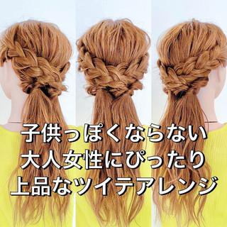 セルフヘアアレンジ ダウンスタイル 三つ編み ヘアアレンジ ヘアスタイルや髪型の写真・画像