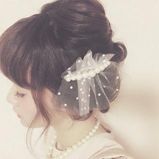 ミディアム フェミニン ショート 簡単ヘアアレンジ ヘアスタイルや髪型の写真・画像
