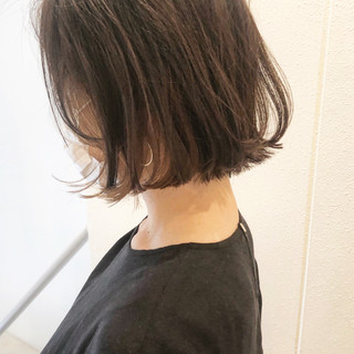 切りっぱなしボブ ベージュ ミニボブ ナチュラル ヘアスタイルや髪型の写真・画像