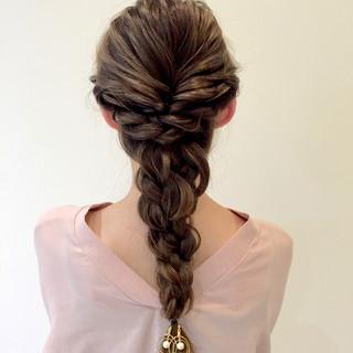 女子会 ヘアアレンジ 編み込み ガーリー ヘアスタイルや髪型の写真・画像