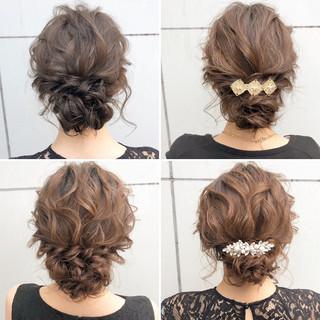 ナチュラル セミロング シニヨン 結婚式 ヘアスタイルや髪型の写真・画像