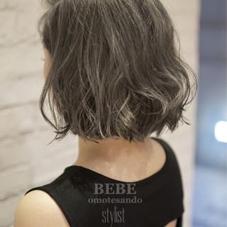 ナチュラル ボブ アッシュ ハイライト ヘアスタイルや髪型の写真・画像