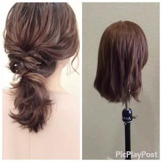 結婚式 簡単ヘアアレンジ 二次会 セミロング ヘアスタイルや髪型の写真・画像