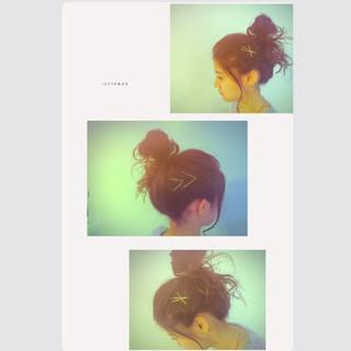 ゆるふわ ヘアアレンジ ロング お団子 ヘアスタイルや髪型の写真・画像