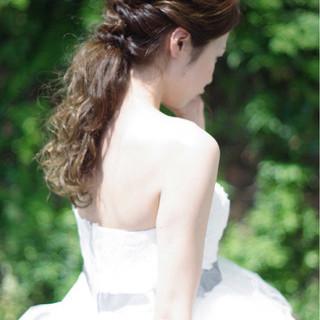花嫁 ヘアアレンジ ブライダル フェミニン ヘアスタイルや髪型の写真・画像
