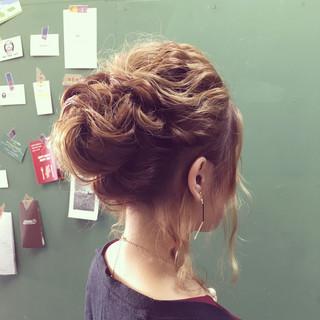 ヘアアレンジ ミディアム 編み込み まとめ髪 ヘアスタイルや髪型の写真・画像