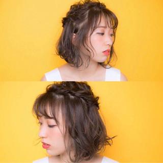 ハイライト フェミニン シースルーバング ボブ ヘアスタイルや髪型の写真・画像