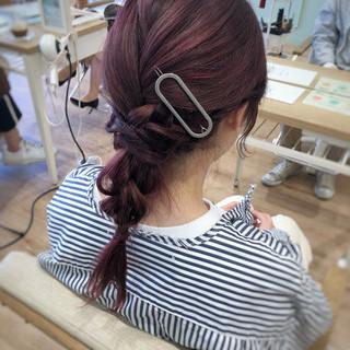 ヘアアレンジ セミロング ナチュラル オフィス ヘアスタイルや髪型の写真・画像
