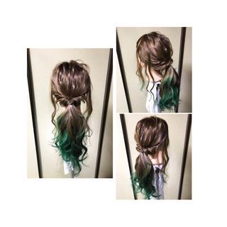 ヘアアレンジ フェミニン 後れ毛 ゆるふわ ヘアスタイルや髪型の写真・画像