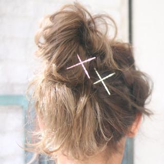 ロング ハーフアップ お団子 デート ヘアスタイルや髪型の写真・画像