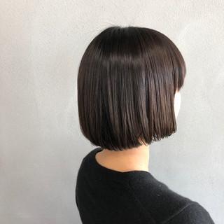 ボブ 艶髪 ナチュラル ワイドバング ヘアスタイルや髪型の写真・画像