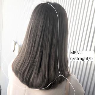 髪質改善 セミロング ナチュラル ストレート ヘアスタイルや髪型の写真・画像