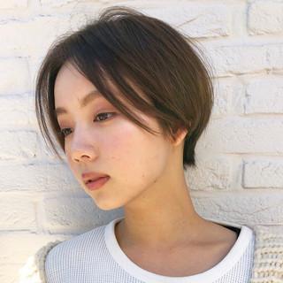 ハンサムショート 黒髪 ナチュラル 簡単スタイリング ヘアスタイルや髪型の写真・画像