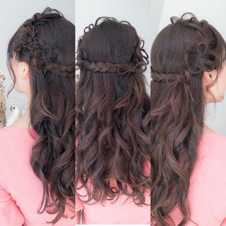 ガーリー セミロング 成人式 デート ヘアスタイルや髪型の写真・画像