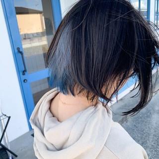 圧倒的透明感 ブルー ホワイト インナーカラー ヘアスタイルや髪型の写真・画像