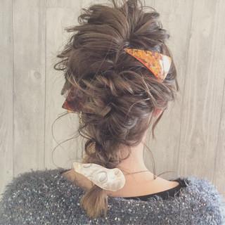 ふわふわ ミディアム 三角クリップ ガーリー ヘアスタイルや髪型の写真・画像