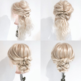 ヘアアレンジ フェミニン 編み込み 結婚式 ヘアスタイルや髪型の写真・画像