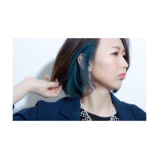 インナーカラー ボブ 大人女子 色気 ヘアスタイルや髪型の写真・画像
