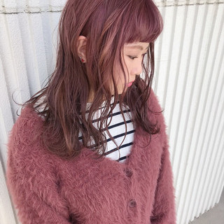 ベリーピンク 簡単ヘアアレンジ ガーリー ピンク ヘアスタイルや髪型の写真・画像