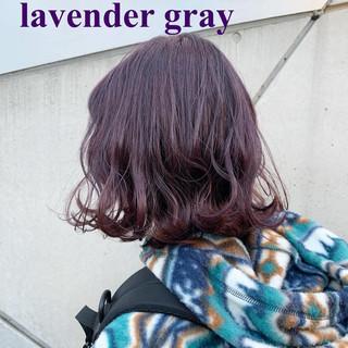 ラベンダーアッシュ ラベンダーグレージュ ストリート ラベンダー ヘアスタイルや髪型の写真・画像