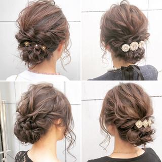 デート ヘアアレンジ セミロング 結婚式 ヘアスタイルや髪型の写真・画像