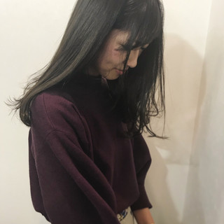 ヘアアレンジ ハイライト 黒髪 ナチュラル ヘアスタイルや髪型の写真・画像