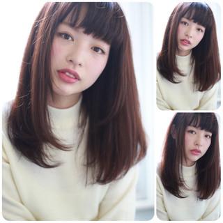 暗髪 イルミナカラー ナチュラル セミロング ヘアスタイルや髪型の写真・画像