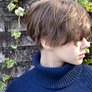 外国人風 アッシュ マッシュ ショート ヘアスタイルや髪型の写真・画像